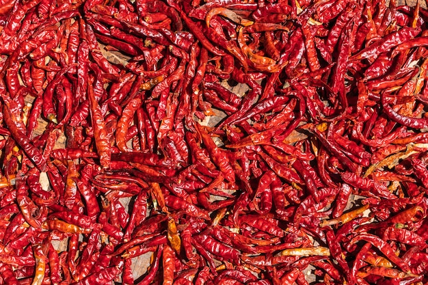 Gedroogde rode hete pepers patroon textuur achtergrond. achtergrond, close-up stockfoto