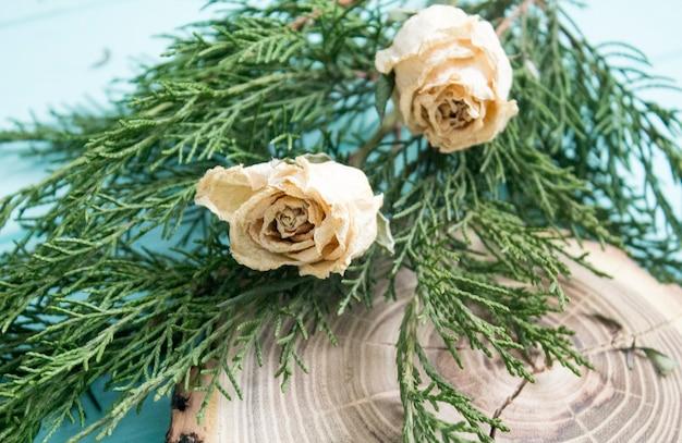 Gedroogde rozen, eenjarige takken en gesneden hout op turquoise achtergrond