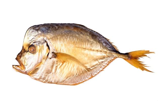 Gedroogde vis geïsoleerd op een witte achtergrond.