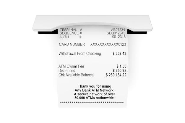 Gedrukte abstracte winkelpapier bill ontvangst atm mockup op een witte achtergrond. 3d-rendering