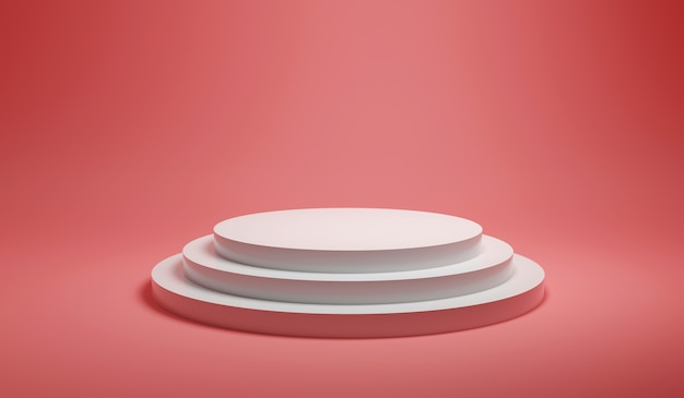 Geef minimalistisch abstract wit rond podiumplatform op roze pastelachtergrond terug