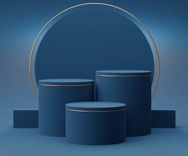 Geef scène van klassieke blauwe podiumscène voor vertoningsproducten en kosmetische reclame terug