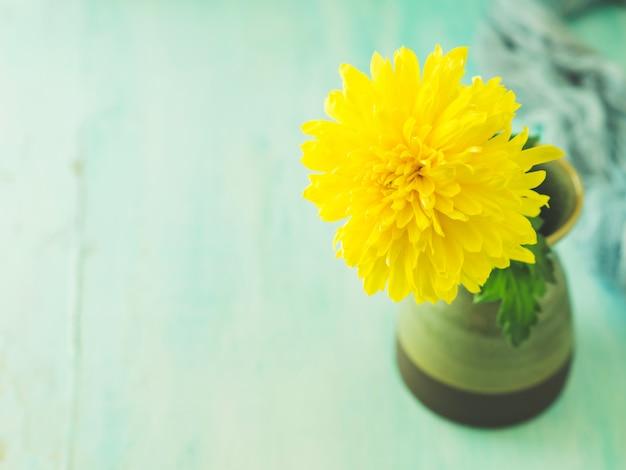 Geel bloemclose-up met copyspace