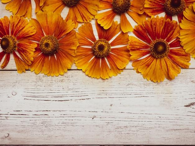 Geel bloemmotief op een witte houten tafel. uitzicht van boven. kopieer ruimte, achtergrond voor ansichtkaarten