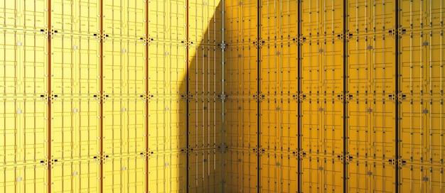 Geel de containerpatroon van de hoekvrachtwagen