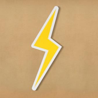 Geel elektrisch bliksemschicht pictogram