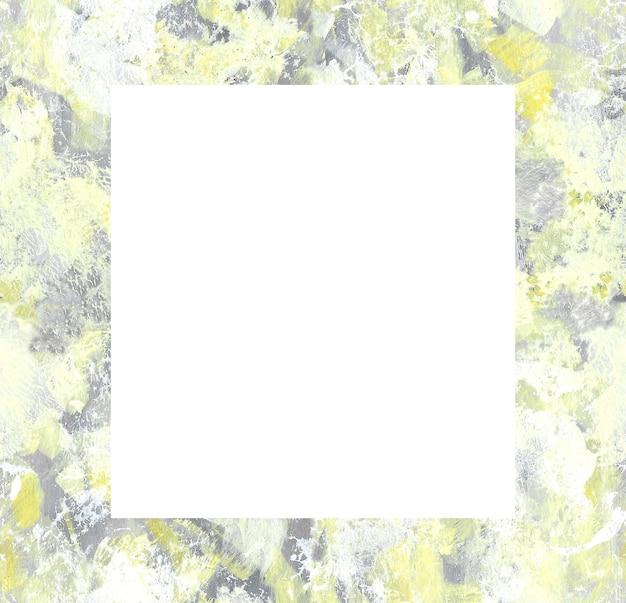 Geel en grijs abstract hand getrokken frame. penseelstreken vierkante vorm fotolijstjes. ruw oppervlak schilderen. kleur vlekken ontwerpelement.