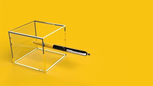 Geel en zwart potlood in 3d-realistische metalen kubus gele backgraund