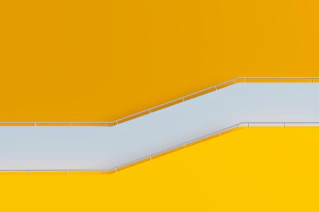 Geel gebouw en trappen met reling, minimale 3d-architectuur, 3d-illustratieweergave