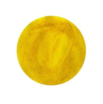 Geel geschilderde cirkel geïsoleerd op wit