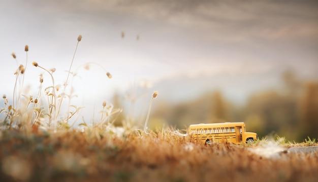 Geel het stuk speelgoed van de schoolbus model bij de landweg. selectieve nadruk en uitstekende gestemde kleur.