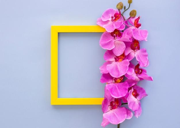 Geel leeg leeg frame dat met roze orchideebloemen wordt verfraaid