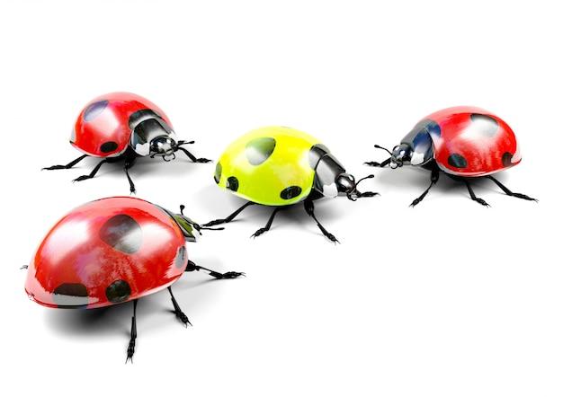 Geel lieveheersbeestje onder rode lieveheersbeestjes
