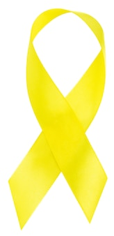 Geel lint-kinderkanker bewustzijnssymbool, geïsoleerd op wit.