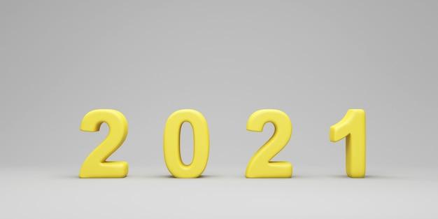 Geel nieuwjaarsymbool op grijze studioachtergrond