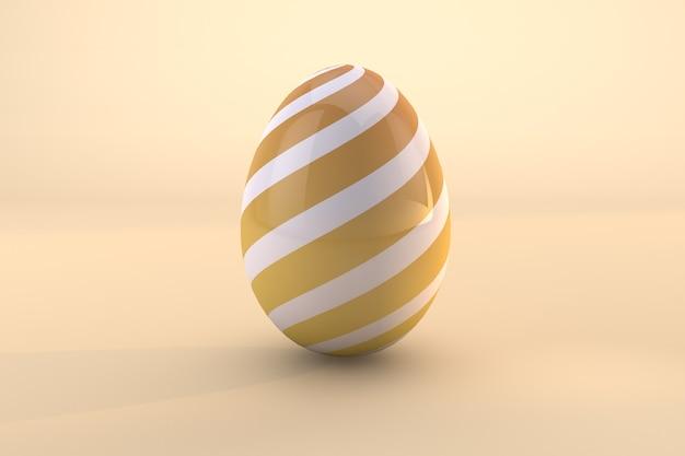 Geel paaseipatroon dat op gele achtergrond wordt geïsoleerd. 3d render een bestand psd transparante achtergrond