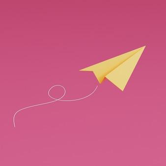 Geel papier vliegtuig vliegen op roze achtergrond