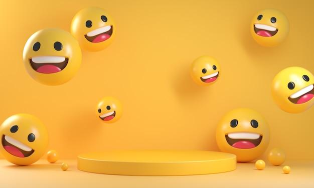 Geel podium met lachende emoji-gezichten