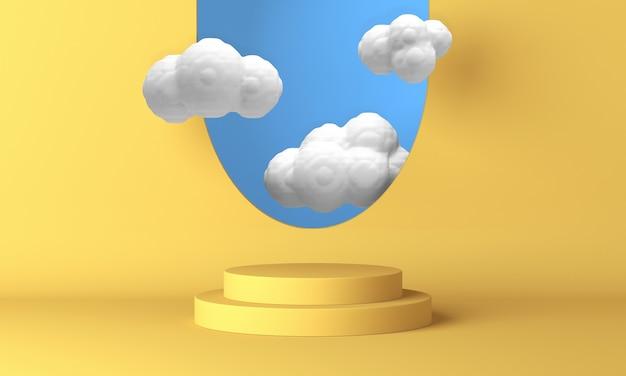 Geel podium met witte wolken die door het raam vliegen. 3d-weergave.