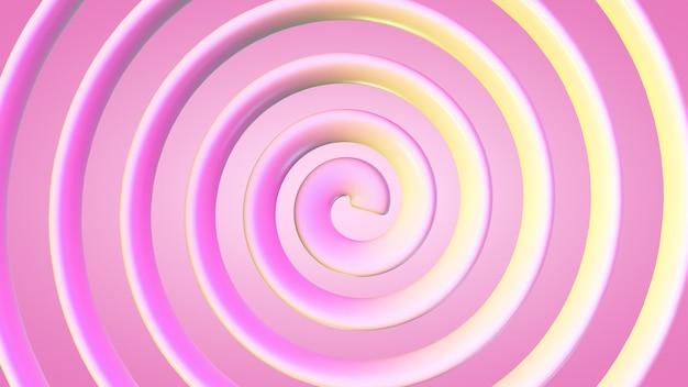 Geel-roze spiraal op een roze achtergrond.