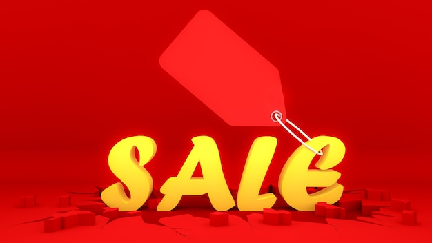 Geel verkoopteken met prijskaartje op barst rode grond. winkelen concept, 3d-rendering.