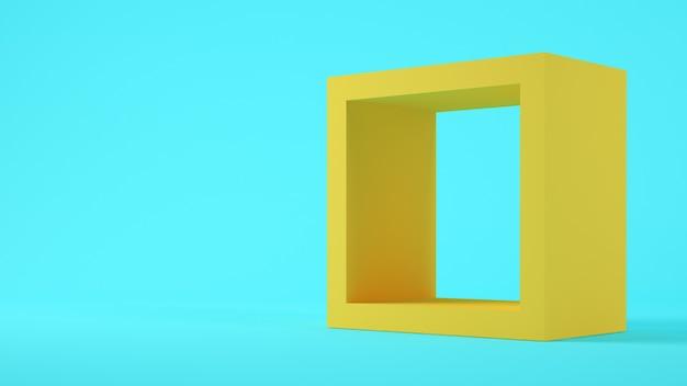 Geel vierkant op blauwe achtergrond 3d-rendering