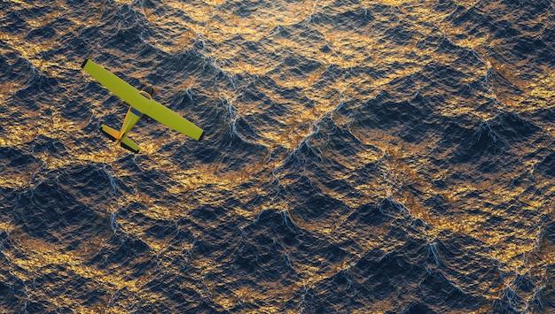 Geel vliegtuig vliegt over de oceaan in een intense zonsondergang. 3d render