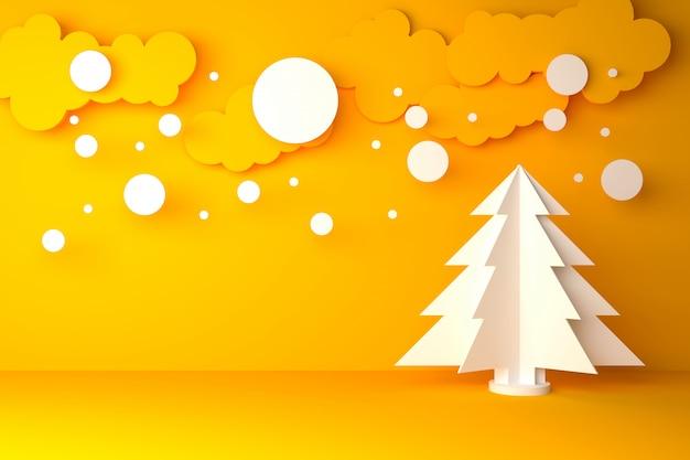 Geel-witte kerstmis en gelukkig nieuw jaar materieel concept - 3d illustratie