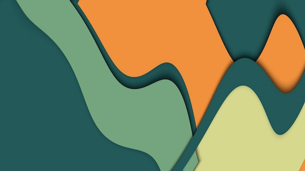 Geelgroene krullende abstracte flexibele achtergrond, gebogen strepen van verschillende kleuren. geometrisch