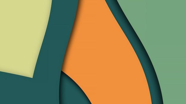 Geelgroene krullende abstracte flexibele achtergrond, gebogen strepen van verschillende kleuren