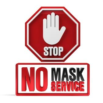 Geen gezichtsmasker geen servicebeleid ondertekenen 3d-rendering.