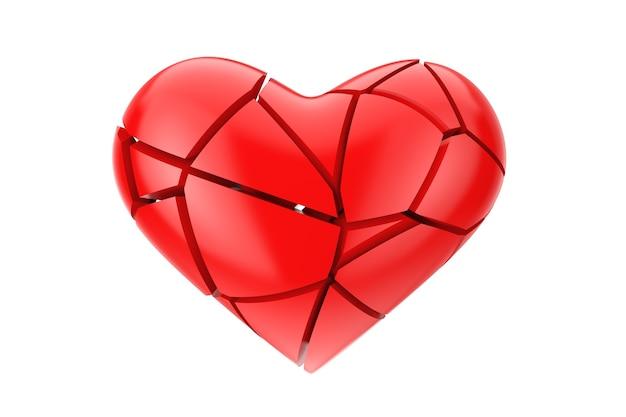 Geen liefdessymbool. gebroken rood hart op een witte achtergrond 3d-rendering