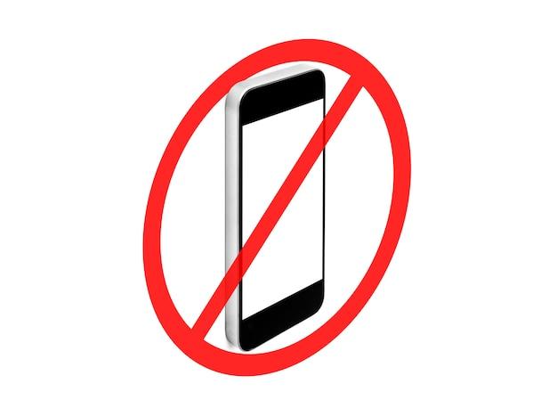 Geen mobiele telefoon teken, geïsoleerd op een witte achtergrond