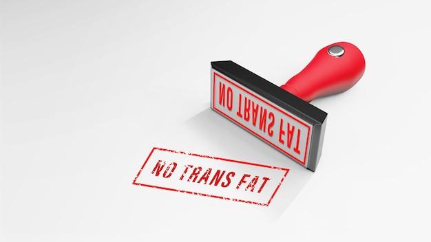Geen trans fat rubberstempel 3d-rendering
