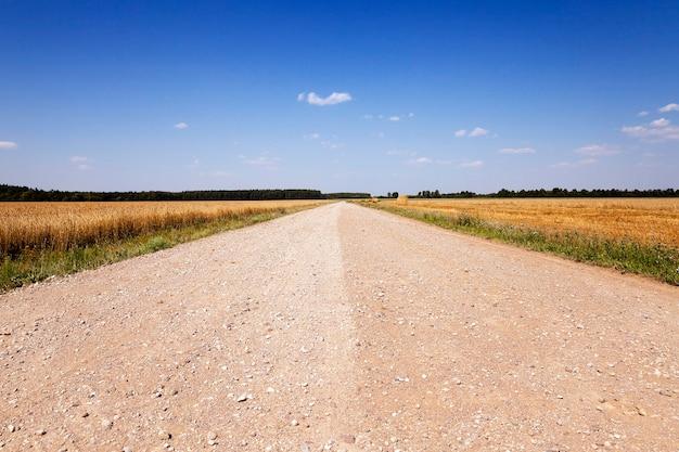 Geen verharde weg - onverharde landelijke weg die door een veld loopt