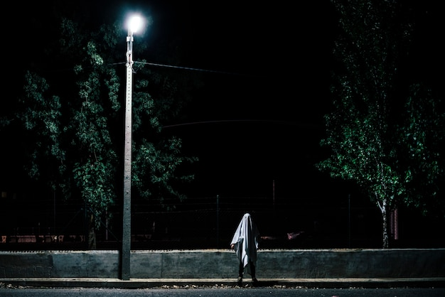 Geest in de schemering op een weg bij weinig licht.