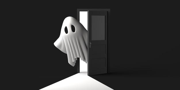 Geest komt uit een halfopen deur op halloween. ruimte kopiëren. 3d illustratie.