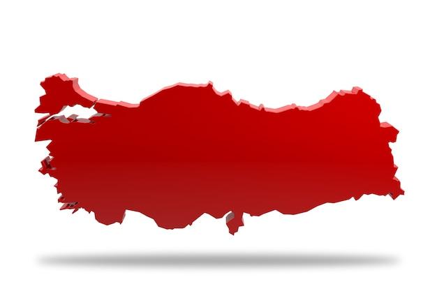 Geëxtrudeerde kaart van turkije. 3d-rendering
