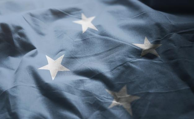 Gefederaliseerde staten van micronesië vlag verkreukelde close-up