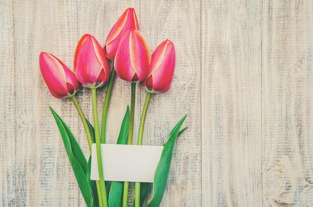 Gefeliciteerd en tulpen op een lichte achtergrond