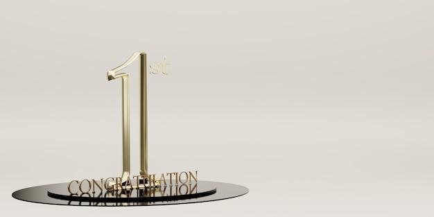 Gefeliciteerd met het behalen van de 1e plaats trophy en overwinning podium achtergrond. 3d illustratie