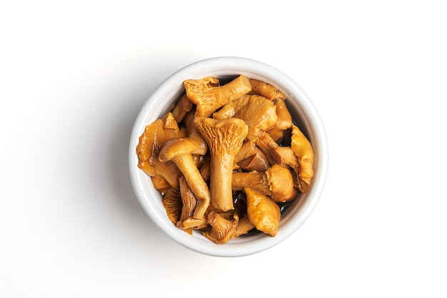 Gefermenteerd voedsel. ingeblikte champignons in een kom op een witte achtergrond.