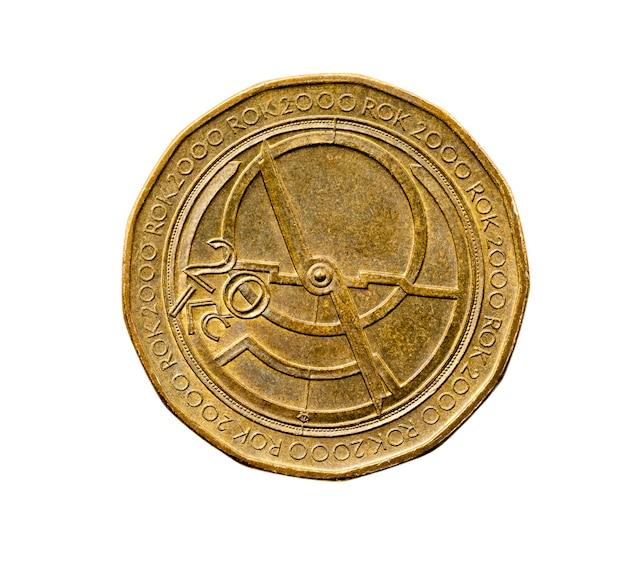 Gefotografeerde close-up op een witte twintig kronen, geld europa tsjechië