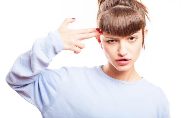 Gefrustreerde tiener schieten met haar hand