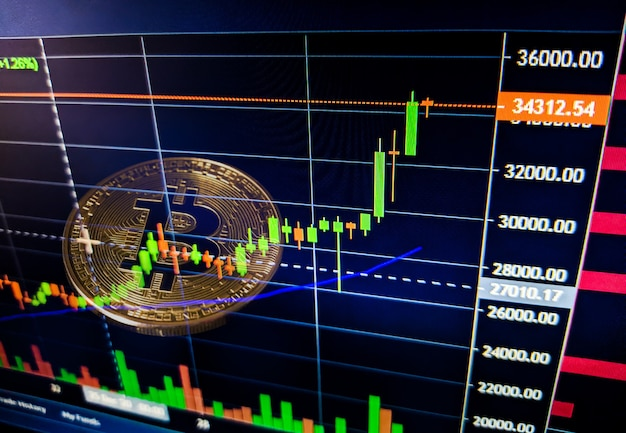 Gegevens analyseren op de beurs van de beurs de kaarschars op het display