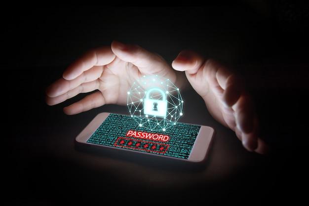 Gegevens met vergrendelingspictogram, wachtwoordtekst en virtuele schermen op smartphone.