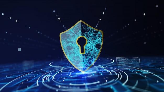Gegevensbescherming cyberveiligheidsconcept met schildpictogram in cyberruimte.