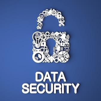 Gegevensbeveiligingskaart handgemaakt van papieren tekens op blauwe achtergrond