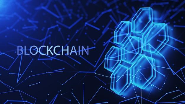 Gegevensblokken, mesh-structuur van de database. blockchain technologie concept. digitale achtergrond. 3d render.