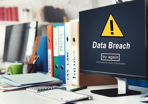 Gegevensinbreuk onbeveiligd waarschuwingsbord concept